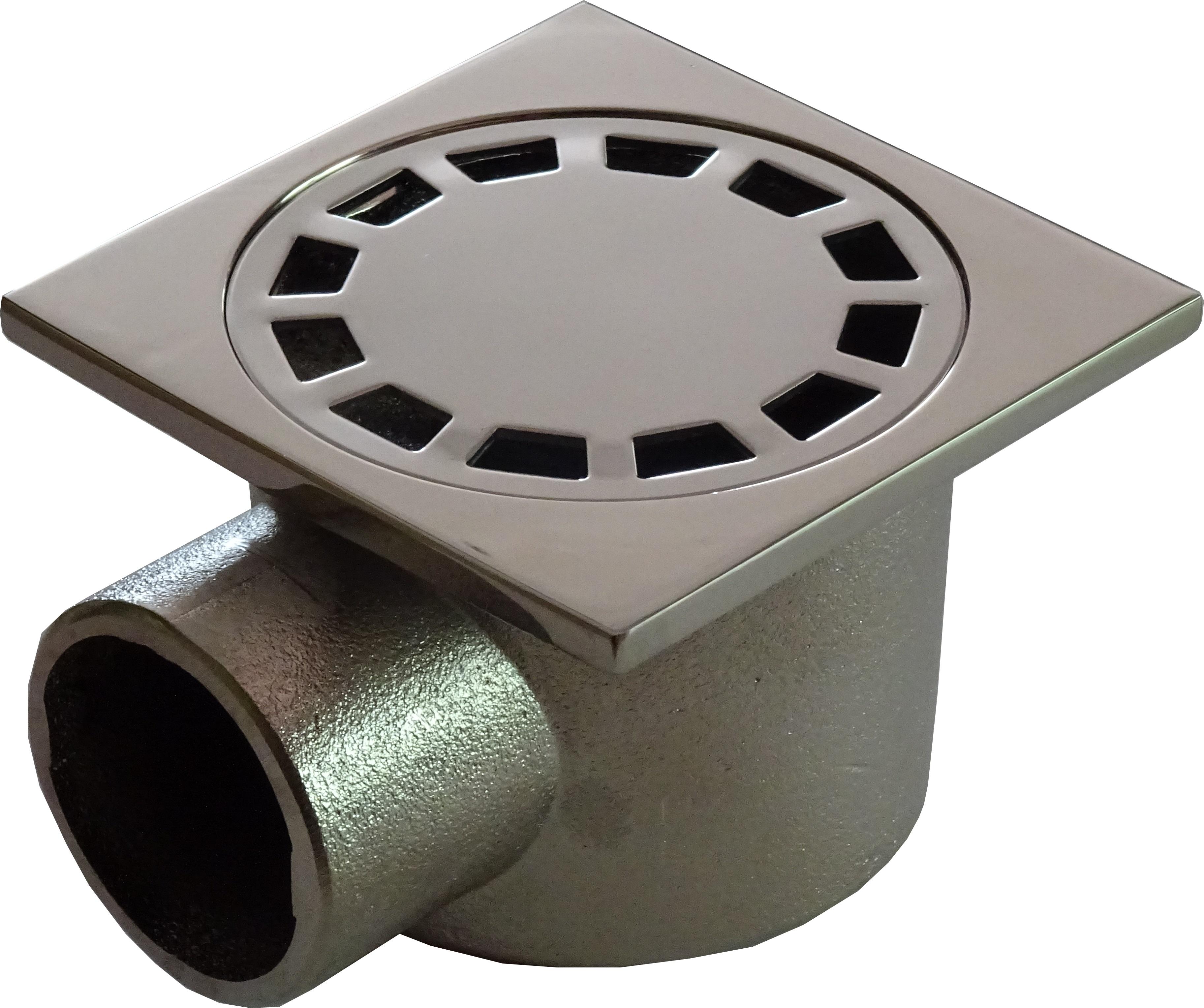 Подов сифон за баня със странично оттичане МЕСИНГ, рогов 100x100 мм Танушев България