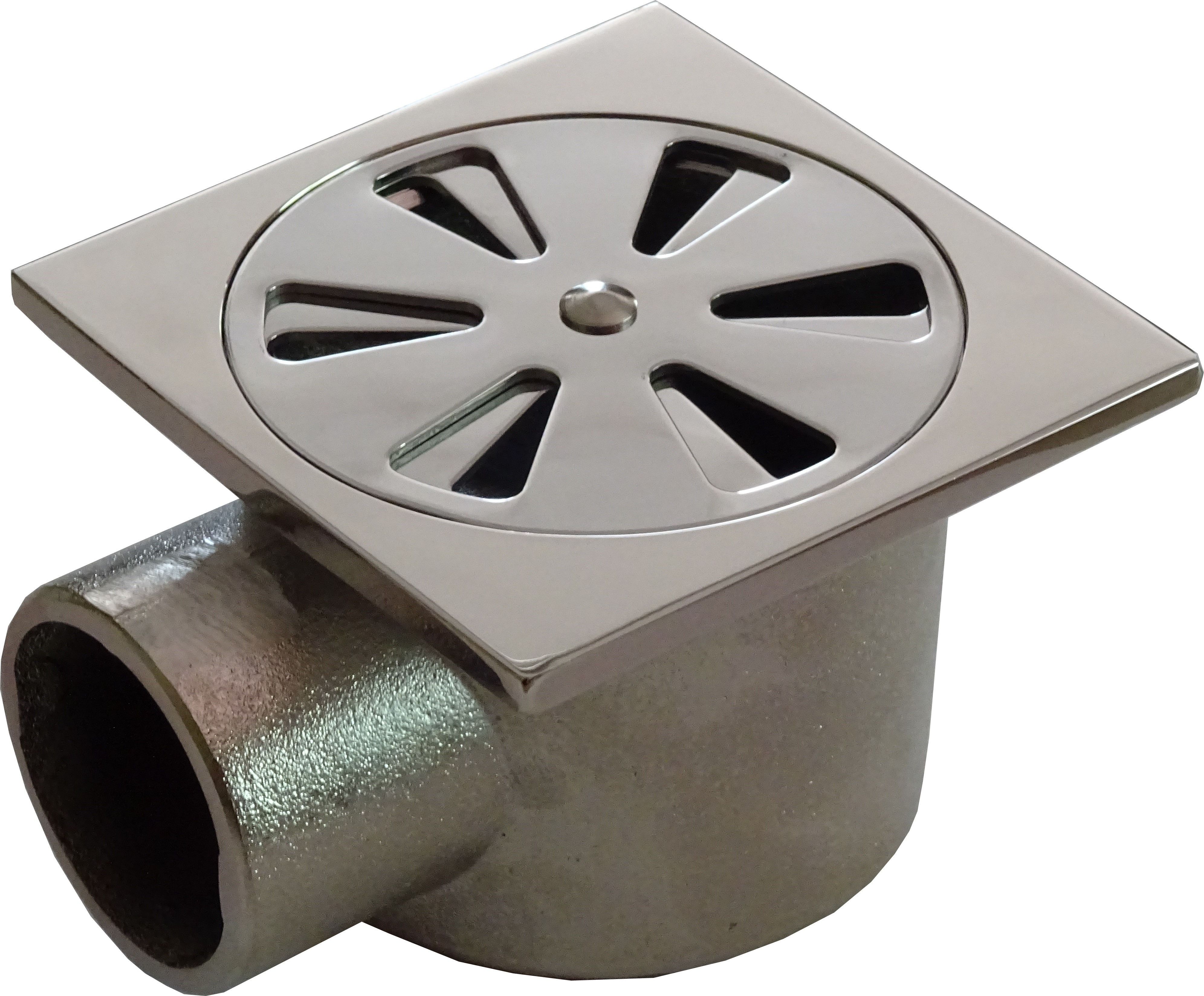 Подов сифон за баня МЕСИНГ със странично оттичане и затваряне на решетката, рогов 100x100 мм Танушев България
