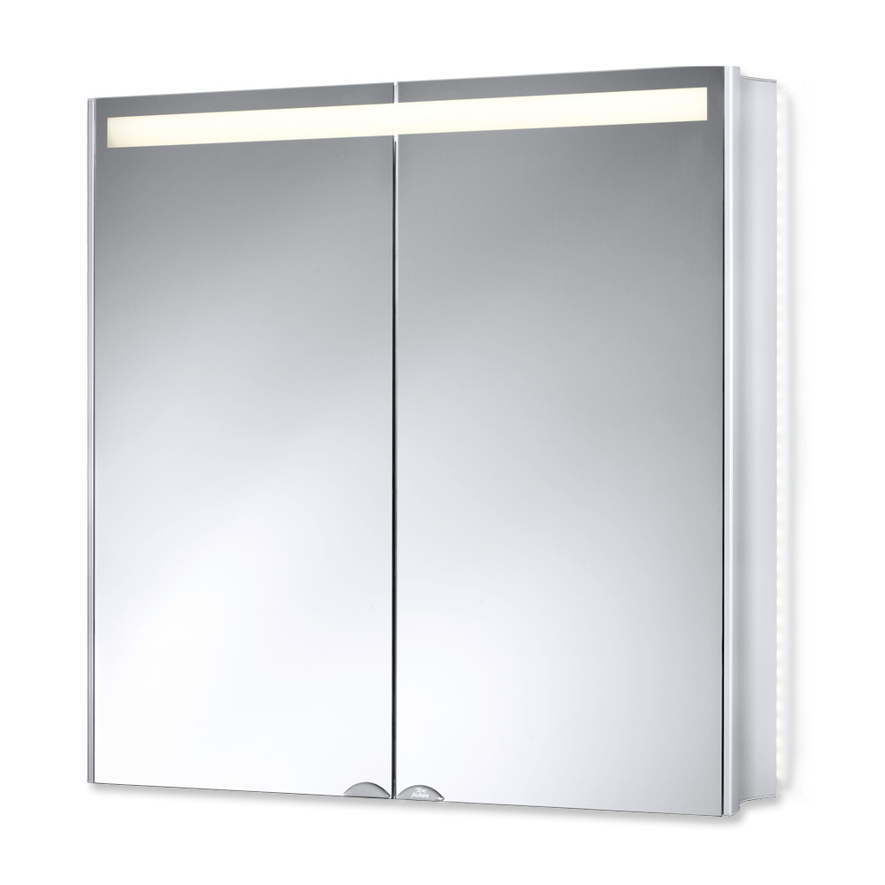Горен шкаф огледало Алууейв с лед осветление алуминий 67X68X16 см.