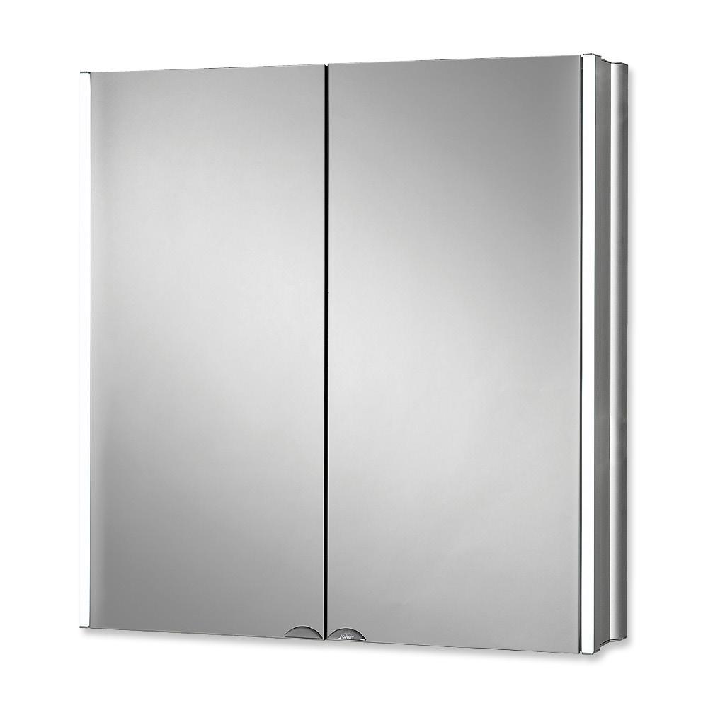 Горен шкаф огледало Линдалу с лед осветление алуминий 65X68X15 см.
