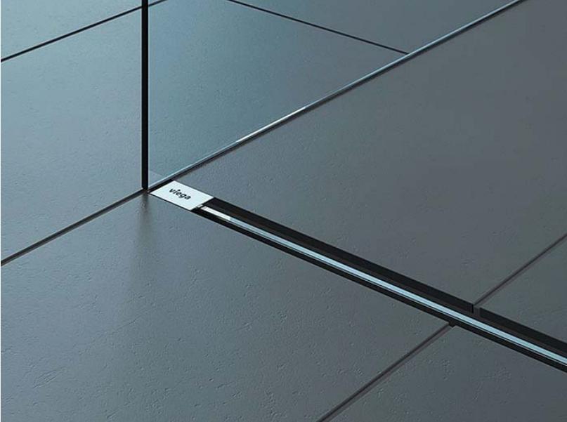 Плитък линеен сифон, подов за баня + горна част хром 721671 + 686291 Viega Германия