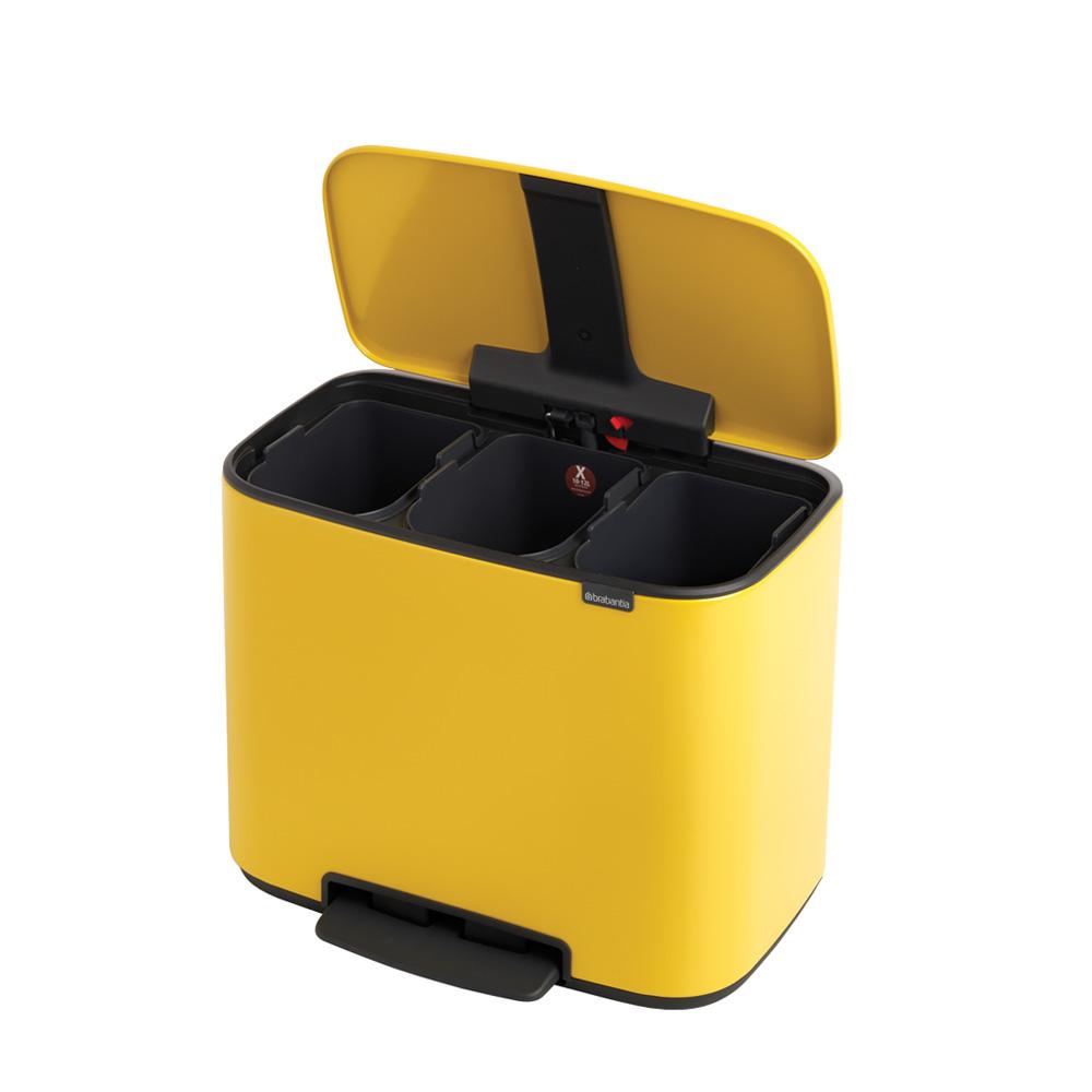 Кош Brabantia Bo Pedal Bin, 3 x 11L, Yellow