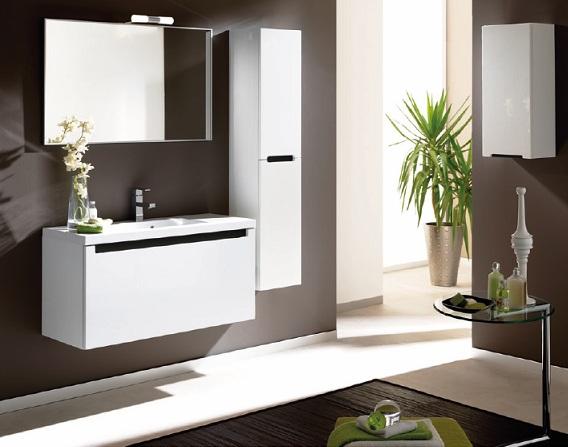 Комплект конзолен шкаф с мивка Serenity + огледало, 100 см., цвят бял, Elita (Royo Group)