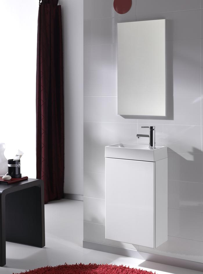Комплект конзолен шкаф с мивка + огледало Young, цвят бял, Elita (Royo Group)